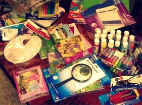 Photo of school supplies for The Book Bridge Library in Puerto Princesa, Palawan, Philippines