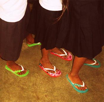 BES Pupils Wearing New Flip Flops 2014