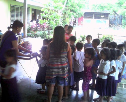 Biscuits and Drinks for Binanuahan Elementary School, Bicol, Philippines