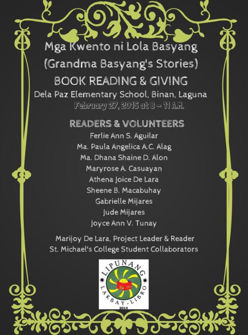 Mga Kwento ni Lola Basyang Book Reading and Giving poster