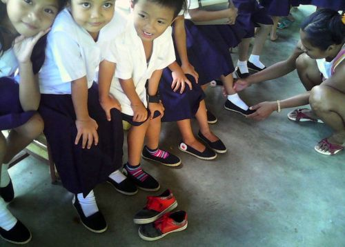 Shoe-fitting at Binanuahan Elementary School